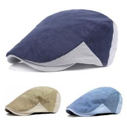 Venta al por mayor de Adulto Unisex Boinas de algodón Gorra de raya ajustable Diseño Pato de pateador Newsboy Hat para hombres mujer CS-113