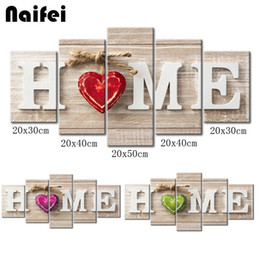 "diamond 3d pictures NZ - 5pcs Full Square Round Drill 5D DIY Diamond Painting""Home Sweet Home"" Multi-picture Combination 3D Embroidery Mosaic Home Decor"