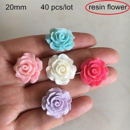 Hot Pink White Roses Australia - 40 pcs -20mm Resin Flower Cabochon Beads,Hot Pink,White,Blue,Purple,Flat Back Plastic Flower Rose,3D Flowers For Scrapbook Deco