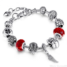 Vintage glass bangles online shopping - 925 Silver Plated Charms Bracelet Pandora European Bead Bracelets Bangle DIY Glass Beads Luxury Vintage Women Jewelry Christmas Gift