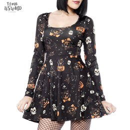 sexy dresses skulls UK - Women Above Knee  Mini Halloween Vampire Skull Print Casual Long Sleeve Swing Mini Dress Halloween Party Vestidos Sj393v