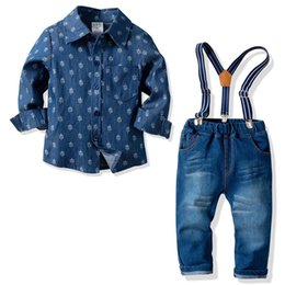 jeans kids suspenders boys 2019 - Newst kids designer clothes Boys Clothing Sets long sleeve Shirts+Jeans suspender trousers Kids Outfits childrens boutiq