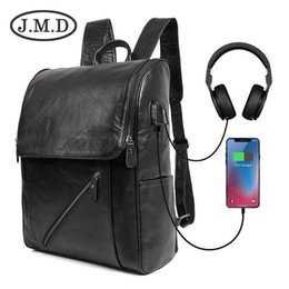 leather backpack computer bag Australia - Winter New Pattern Computer Package Middle School Student A Bag USB Genuine Leather Both Shoulders Package Outdoors Fashion Leisure Time