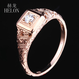 $enCountryForm.capitalKeyWord Australia - HELON Moissanite Ring Solid 10K Rose Gold VVS F-G Test Positive Lab Grown Moissanite Diamond Engagement Ring Women Fine Jewelry