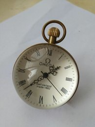 Großhandel CHINESISCHE Vintage BRASS GLASS Taschenuhr BALL Clock