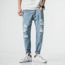 $enCountryForm.capitalKeyWord Australia - Summer Ripped Jeans for Men Vintage Old Man's Hole Denim Trousers Fashion Light Blue Plus Size Jean Pants Hip Hop Streetwear