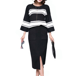 Wholesale knit sweater skirt sets for sale - Group buy Winter Pieces Sets Knitted Three quarter Sleeve Sweater Skirt Suit Elastic Waist Skirts Striped Pullover Women Outfits Mujer