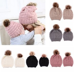 Mohair crochet hat online shopping - Mom Baby Knitted Hats Pompom Mohair Blending Soft Elastic Hats Baby Mom Matching Hat Winter Warm Cap HHA