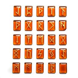 25 unids / lote piedra cristal runas vikingo conjunto amuleto runi adivinación reiki curación adivinación cadena censura piedras perlas en venta