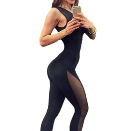 Leotard Jumpsuits Australia - Sexy Womens Summer Jumpsuit Female Sleeveless Mesh Overalls Fitness Leotard Rompers Workout O Neck Playsuit Black Catsuit