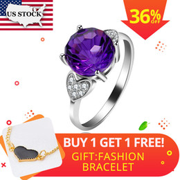 $enCountryForm.capitalKeyWord NZ - Us Stock Uloveido Amethyst Solitaire Ring, 925 Sterling Silver, 8*8mm Certified Round Purple Gemstone Engagement Jewelry Fj207 J190529