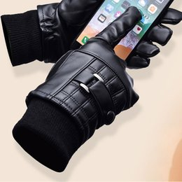 $enCountryForm.capitalKeyWord NZ - 2019 Fashionable Luxury Men's & Women' PU Leather Winter Super Warm Gloves Fall Fashion Phone Touch Screen Finger Gloves