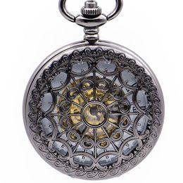 $enCountryForm.capitalKeyWord Australia - Creative Hollow Spider web Roman Numerals Steampunk Skeleton Mechanical Pocket Watch with Fob Chain