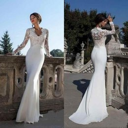 Wholesale satin shirt sexy online – 2019 Modest Long Sleeves Sheath Wedding Dresses V Neck Lace Appliques Slim Illusion Spring Summer Bridal Gowns Vestidos De Noiva