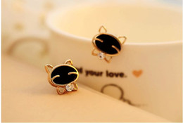 women cat ear studs Canada - @ Special price @ exquisite fashion cute black smiling face cat water drill high-end exquisite ear nails wholesale women manufacturers
