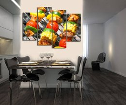 Unframed Art Prints Australia - 4pcs set Unframed Delicious American Barbecue Meat Vegetables HD Food Print On Canvas Wall Art Picture For Home and Living Room