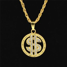AmericAn dollAr coins online shopping - Cross border electronic syllable hip hop Necklace dollar symbol gold plated diamond inlaid Gold Pendant ultra long manufacturer direct sales