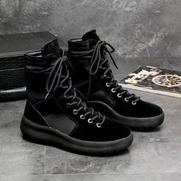 motorcycle boots 45 Canada - 2019 KANYE Brand high boots of God Top Military Sneakers Hight Army Boots Men and Women black green Fashion Shoes Martin Boots 38-45