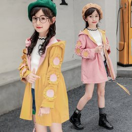 $enCountryForm.capitalKeyWord NZ - 2019 fashion outer clothing kids clothes 12 years old hooded girls Flower trench coat