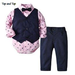 long sleeve baby vests NZ - Top and Top Toddler Baby Boys Gentleman Clothes Set Long Sleeve Romper Shirt with Bow Tie+Pants+Vest 3Pcs Wedding Casual OutfitsMX190912