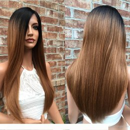 two tone straight full lace wigs NZ - A Free Shipping Ombre 1b 30# Color Brazilian Human Hair Full Lace Wig Silky Straight Two Tone Lace Front Wig 130% density
