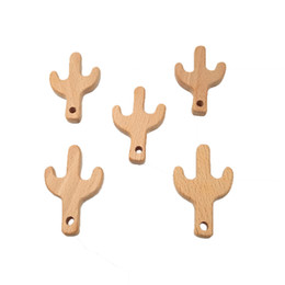 Cartoon Make Toys NZ - Beech Wooden Cactus Teether Animal Shaped Baby Teethers Infants Teething Toys Baby Accessories For Baby Necklace Making