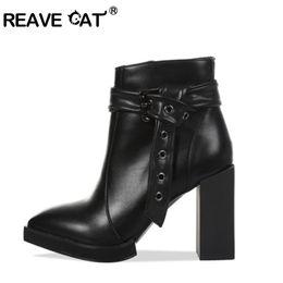 $enCountryForm.capitalKeyWord Canada - REAVE CAT Woman ankle boots Platform Block High Heels black short booties zipper party club shoes