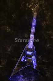 Lighted Pull Switch NZ - Starshine LED Light Electric Guitar DK-FFL Full Acrylic Body& Neck Blue LED Pull Push Switch Control LED Tremolo Bridge Chrome Hardware