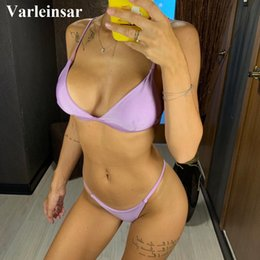 purple bikini swimsuits Canada - Cheap Set 12 colors Shiny Brazilian Bikini 2019 Women Swimwear Female Swimsuit Two-pieces Bikini set Bather Sexy Bathing Suit Swim V64P