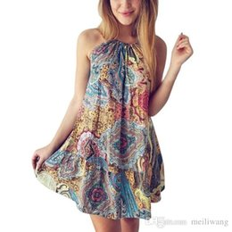 Cotton Floral Gowns Australia - wholesale Summer Women Casual Mini Dress Bohemian Ocean Wind Print Beach Dress Female Floral Fashional Slim Sexy Women' Gown