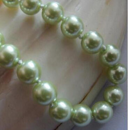 $enCountryForm.capitalKeyWord Australia - necklace Free shipping +++ Fashion 8mm Light Green South Sea Shell Pearl Round Necklace 18''
