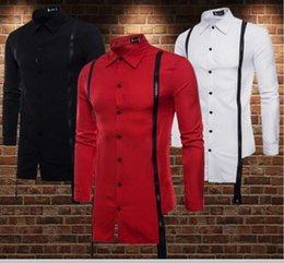 Discount fringed shirts - 2019 fashion M-2XL Long-sleeved shirt with irregular zipper fringed hem Men's Shirts singer Hair Stylist Stage cost