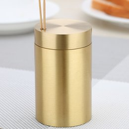 metal toothpick holders UK - Classic golden pure copper cylindrical toothpick holder Fashion decorative metal toothpick box