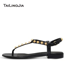 flat sandals for women pink Canada - Flat Thong Sandals for Women Black Sliver T-bar Beach Shoes Giant Studs Flats Strappy Vacation Studded Shoes Large Size 2019 free shipping