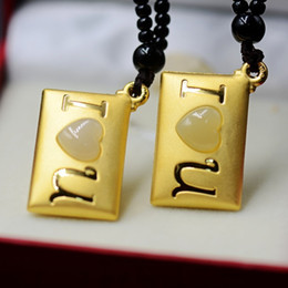 $enCountryForm.capitalKeyWord Australia - Brass Knuckles Free Shipping 24 K Inset S Hetian Inlay Fine 3 D Solid 520 A Love Letter Pendant Female Valentine's Day Gift