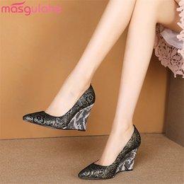 elegant gold women shoe 2019 - Masgulahe 2019 new arrival women pumps slip on spring summer single shoes pointed toe elegant wedges party shoes woman c