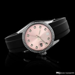 Wrist Watches Logos Australia - Women Fashion Rhinestone Crystal Case Luxury Top Brand Women's Girl Silicone Strap Quartz wrist watch Full logo Quartz Fashion Rhinesto