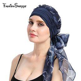 Boho Hair Wraps Australia - New Women Chemo Headwear Turbans Long Hair Head Scarf Head wraps Cancer Hats Boho Pre-Tied Bandana Hair accessories for Women