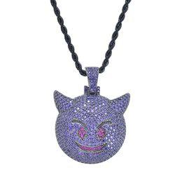 LittLe chains for men online shopping - hip hop Little devil emoji pendant necklaces for men western hot sale diamonds necklace copper zircon real gold plated luxury jewelry