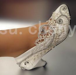 $enCountryForm.capitalKeyWord NZ - Sweet women Low heel white Lace light ivory rhinestone pumps Wedding Bridal shoes dancing shoes