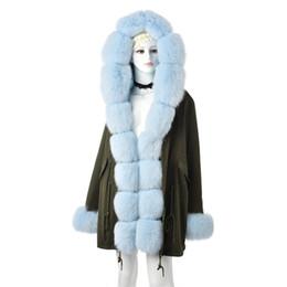 $enCountryForm.capitalKeyWord Australia - FURSARCAR Fashion Green Jacket Real Fur Parka Women Luxury Winter 80 CM Coat With Fox Fur Collar And Cuff Casual Warm Parka