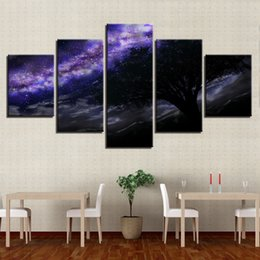 Canvas Art Print Frame Australia - Canvas Paintings Wall Art Living Room Frame 5 Pieces Purple Milky Way Pictures Printed Starry Sky Tree Poster Modular Home Decor