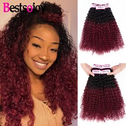 $enCountryForm.capitalKeyWord Australia - Bestsojoy Pre-colored 3 Bundles Deal Ombre Kinky Curly Hair Burgundy Bundles T1B 99J Color Virgin Human Hair Weave Bundles