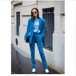 Royal Blue Yellow Suits Australia - New Royal blue 2 piece set women business suits slim fit ladies office uniform elegant pant suits female trouser