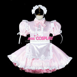 tailor made costumes Australia - Baby pink Satin Sissy boy maid dress lockable CD TV Tailor-made