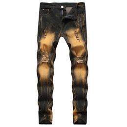 Wholesale hip hop jeans sale for sale – denim Fashion Vintage Ripped Slim Fit Distressed Jeans Pants Hip Hop Denim Cool Pants Male Novelty Streetwear Jean Trousers Hot Sale