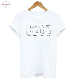 cat t shirts for women Australia - Un Deux Trois Cat Print Women Tshirt Cotton Casual Funny T Shirt For Lady Yong Girl Top Tee Drop S 188