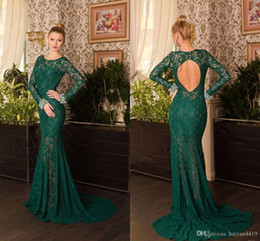 $enCountryForm.capitalKeyWord NZ - Hunter Green Mermaid Prom Dresses Jewel Neck Full Lace With Beaded Illusion Long Sleeves Backless Sweep Train Evening Cheap Party Gowns