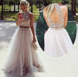 green crop top prom dresses Australia - 2019 High Neck Two 2 Pieces Prom Dresses Sexy Crop Top Backless Party Gowns Long Pearls Beaded Evening Dress Vestideos de festa