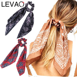 Wholesale LEVAO Floral Print Scrunchie Women Hair Scarf Elastic Bohemian Hairband Bow Hair Rubber Ropes Girls Ties Accessories